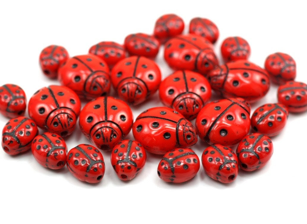 26 Red Ladybug Czech Glass Beads - 9 big and 17 small - aul2010119