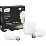 Philips Hue White Starter Kit - Wireless lighting set - LED light bulb x 2 - total: 20 W (equivalent 120 W) - soft white light - 2700 K - white