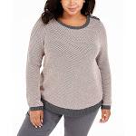 Charter Club Women's Button-Trim Contrast-Accent Sweater Deep Black