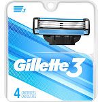 Gillette Cartridges, 3 Blade - 4 cartridges