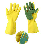 Xinhuaya Latex five-finger scouring gloves Strong water absorption Composite Sponge Cleaning Dish-Washing Gloves kitchen Yellow