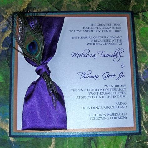 Peacock feather wedding invitation   Peacock feather