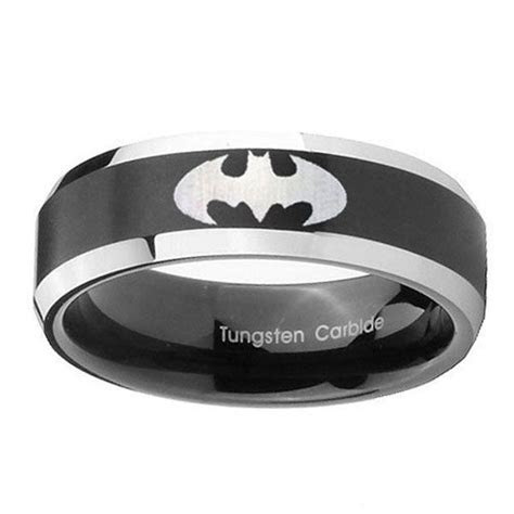 Batman Tungsten Carbide Black Two Tone Laser by