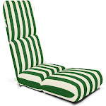 Casual Cushion Maxim Stripe Sunbrella Chaise Lounge Cushion Forest Green