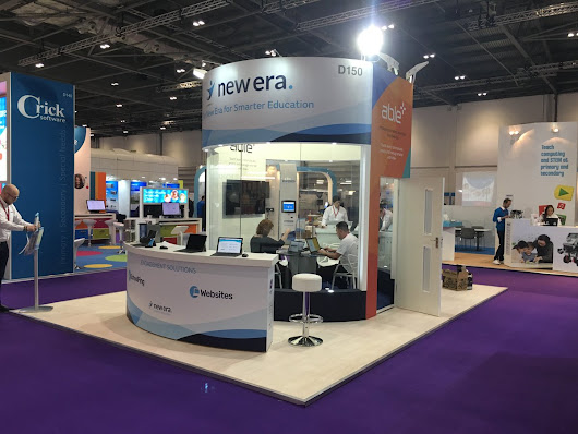 "ESM LTD on Twitter: ""Also built for @NewEraEdUK at #Bett2017, simple, clean lines, clear graphics sometimes less is more. All set for 3 days of busy  #exhibiting """