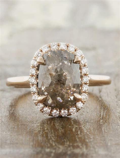 Zayda: Rustic Cut White Diamond Halo Engagement Ring   Ken
