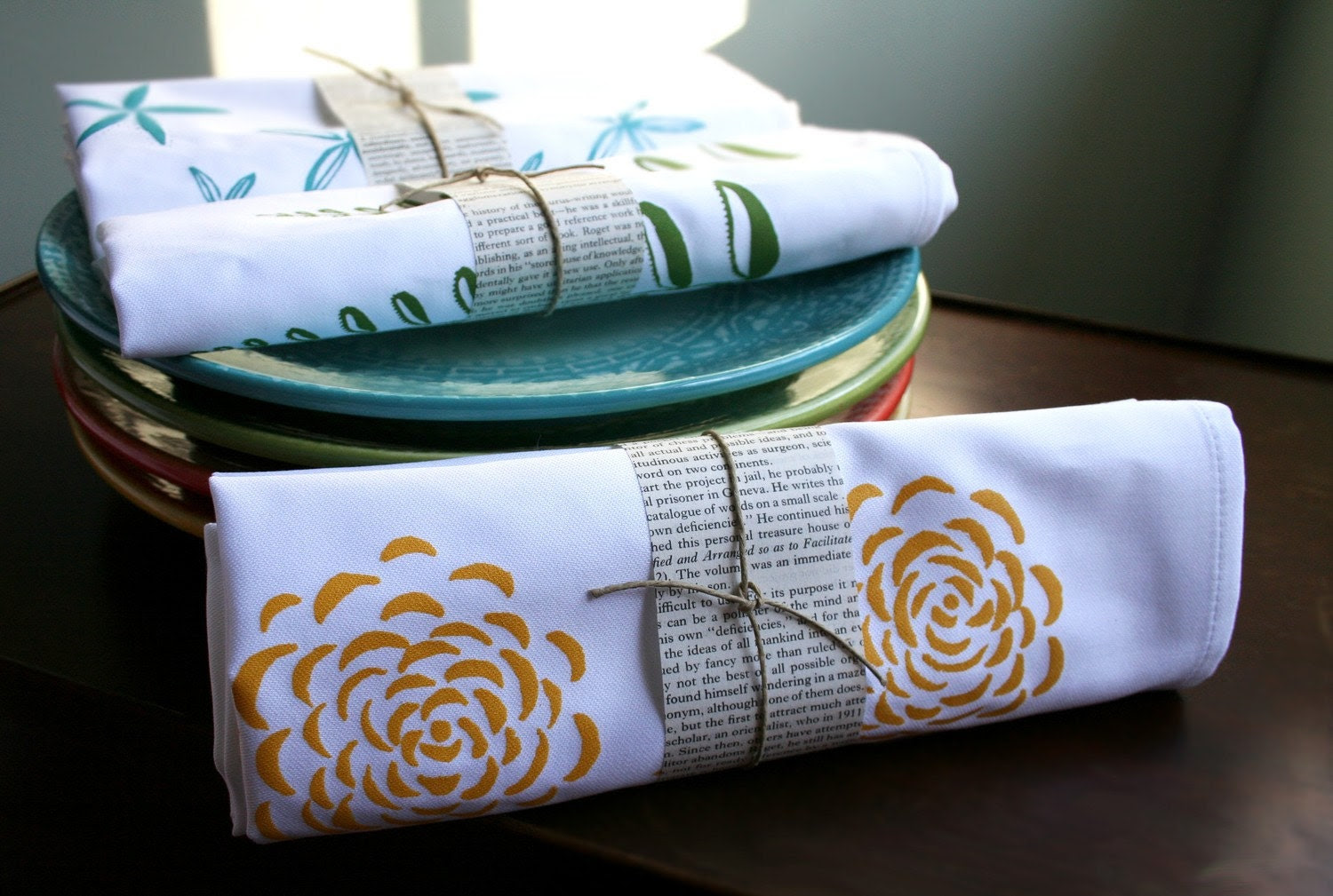Cloth Dinner Napkin. Marigold. Set of Four. Hand Screen-Printed.