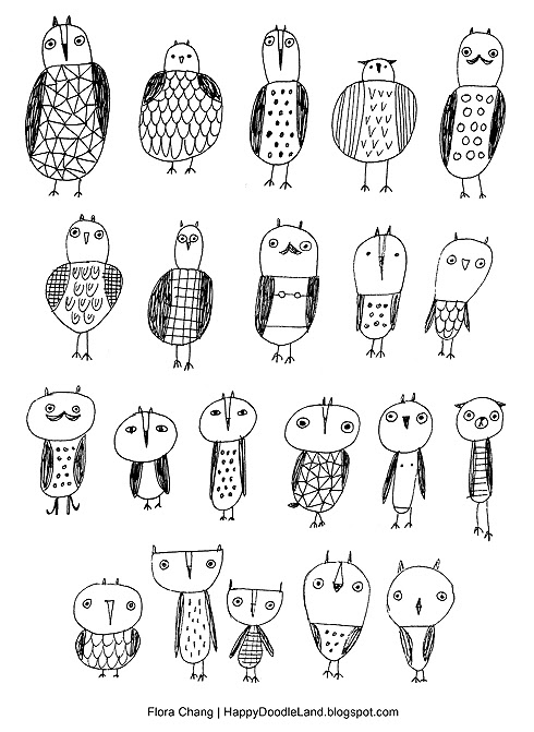 Mini Owls Doodles