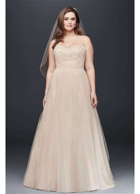 Soft Tulle A Line Plus Size Wedding Dress   David's Bridal
