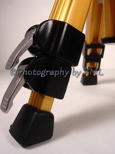 the leg of a camera tripood