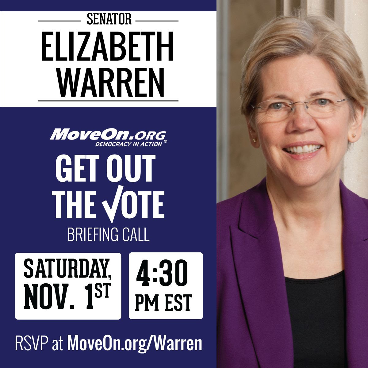 Click here to RSVP for GOTV call with Elizabeth Warren