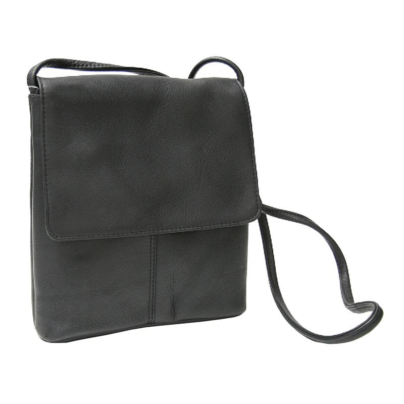 Royce Leather Vaquetta Small Flapover Crossbody Bag, Women's, Black