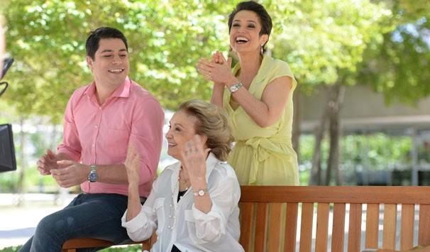 Evaristo Costa, Sandra Annemberg e Eva Wilma gravaram juntos (Foto: Zé Paulo Cardeal/ Globo)