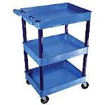 24W x 18D x 40.5H Three-Shelf Tub Cart - Blue AB375148