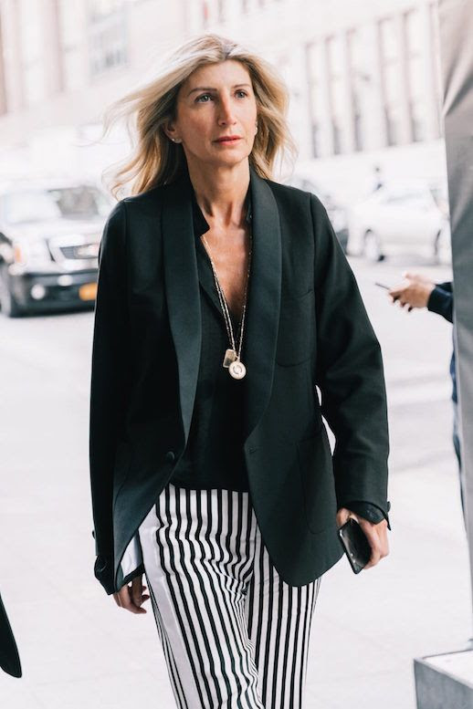Le Fashion Blog 2 Striped Looks Black Blazer Black T Shirt Striped Pants Via Collage Vintage Sarah Rutson