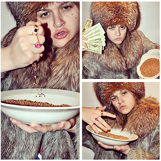 Buckwheat and bling: A young Russian lady displays her wealth: furs,  cash, jewels and buckwheat