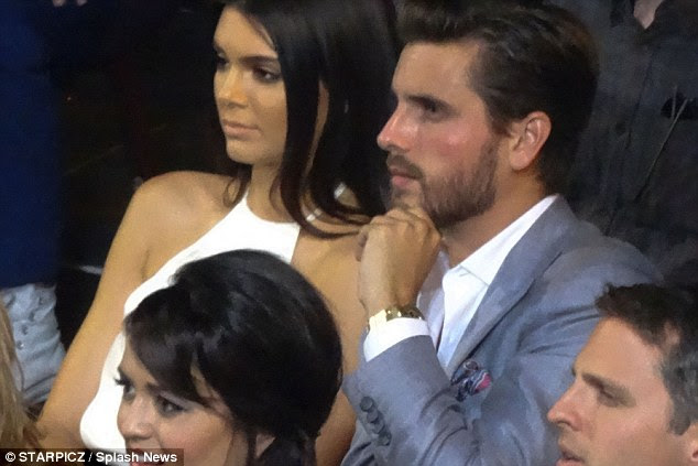 Enjoyed himself: The boyfriend of Kourtney Kardashian looked enthralled in the show, unlike Kendall who at times looked a little bored