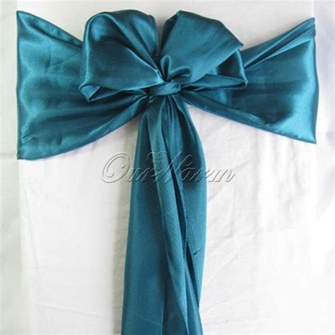 100 Teal Blue Satin Chair Sash Wedding Party Supply