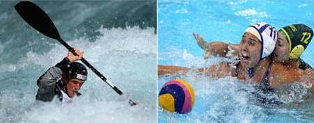 (L-R) Huw Swetnam competes in the Kayak Men's Single during the Great Britain Canoe Slalom Selection Trials for the London 2012 Olympic Games (Warren Little/Getty Images); Annika Dries of the U.S. is challenged by Nicola Zagame of Australia during the Visa Water Polo International test event match ahead of the London 2012 Olympic Games (Clive Rose/Getty Images).