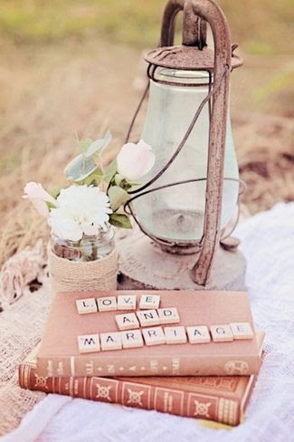 {Engagement Shoot} Rustic Broadbeach Picnic | Confetti Daydreams - Vintage glass lantern, old novels and scrabble tiles used to create a rustic picnic setting ♥ #Engagement #Rustic #E-Shoot