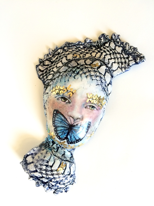 Goddess of Silence | tjCervantes Art, Unique Pottery, Gold Leafed Art, Moon faces, Drawing