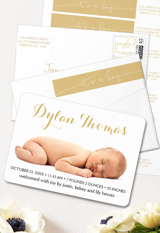 Simple Elegance Birth Announcent It's a Boy Wrap Around Return Address Labels