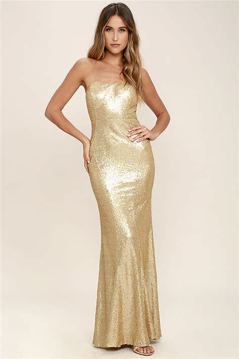 stunning gold sequin dress strapless dress maxi dress