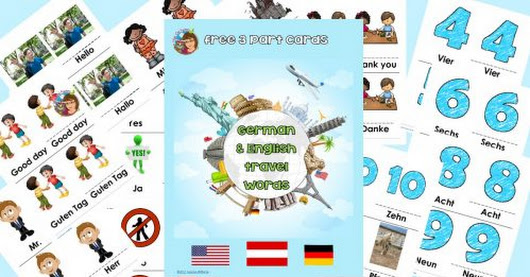 German and English Basic Words 3-Part Cards Freebie MCCBD