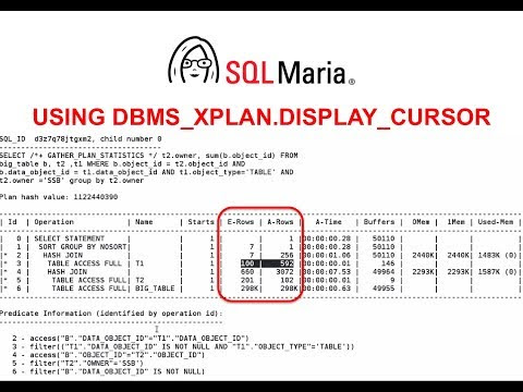 Using DBMS_XPLAN.DISPLAY_CURSOR to examine Execution Plans