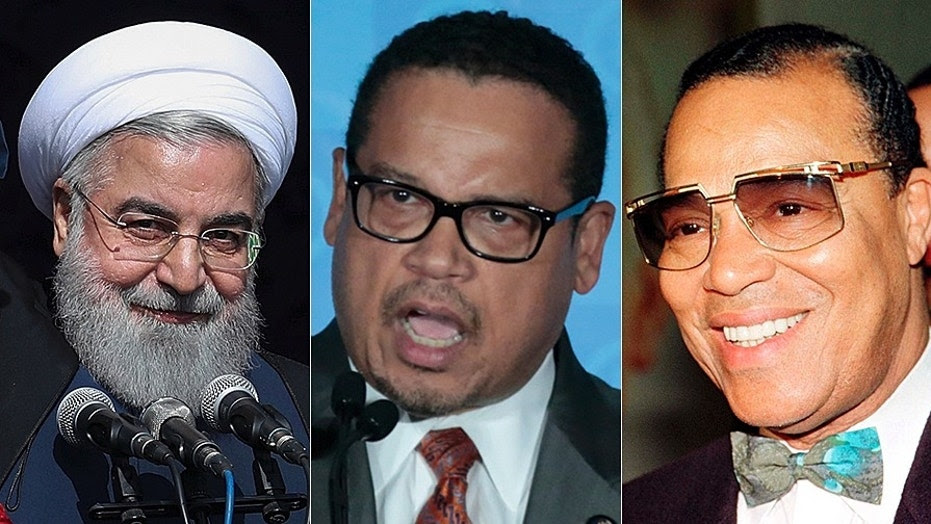 Iranian President Hassan Rouhani, left, invited Rep. Keith Ellison, center, and Louis Farrakhan, right, among others to a dinner in 2013.