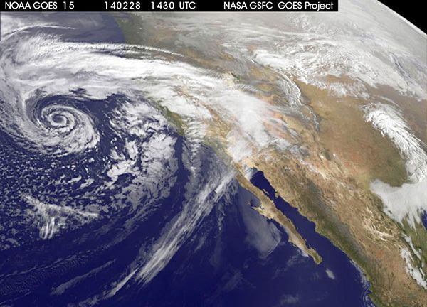 A satellite image showing a strong winter storm that's hitting Southern California this weekend.
