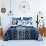 Barefoot Bungalow Oversized 100% Microfiber Embry Indigo Color 3 Piece Reversible Quilt Set King - Twin Indigo