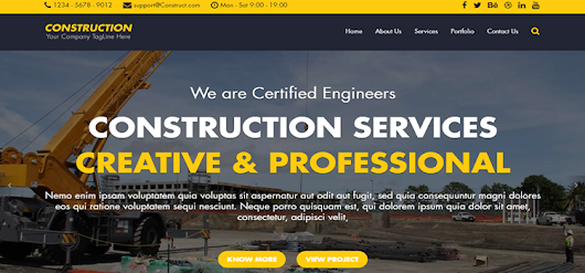 Construction - Free HTML Bootstrap Template - Bootstrap Themes