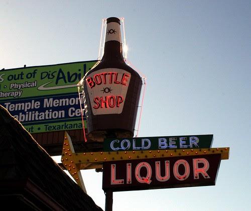 bottle shop neon sign