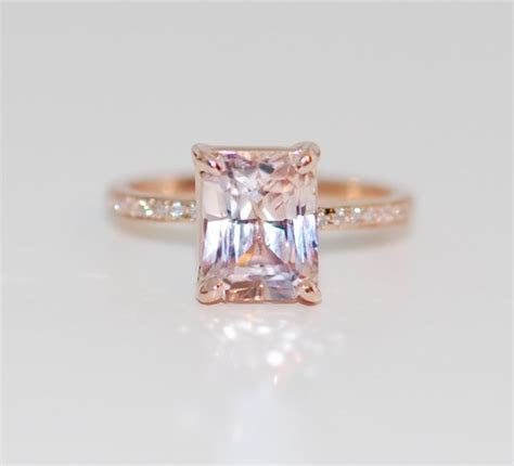 Blake Lively ring Peach Sapphire Engagement Ring emerald