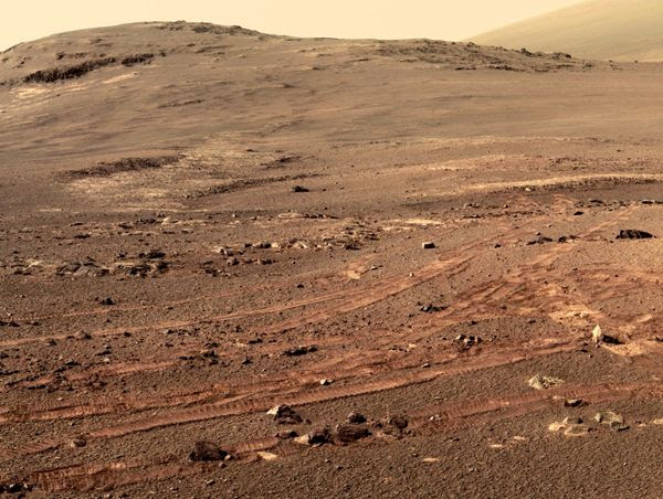 An image that is part of the larger 360-degree panorama that NASA's Opportunity rover took on the surface of Mars in spring of 2018.