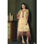 Elegant Creme and Pink Kaftan Style Long Kurti Buy / Small / Cream