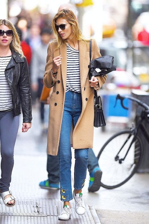 Le Fashion Blog Model Off Duty Style Casual Cool Look Anja Rubik Sunglasses Striped Tee Long Camel Coat Cropped Jeans Mini Bag Stan Smith Adidas Sneakers Via Vogue