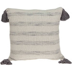 Parkland Collection Seema Transitional Beige Printed Striped Tassel Pillow Cover With Poly Insert