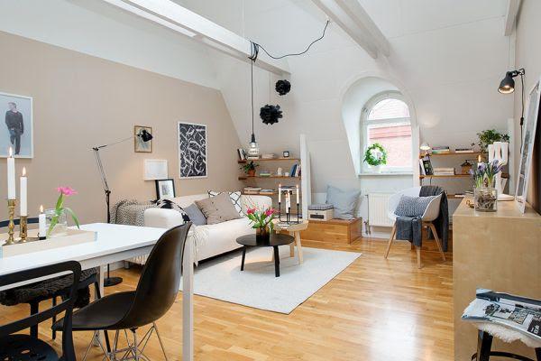 Attic Apartment with Subtle Pops of Color | Home Design, Garden ...