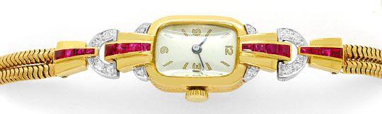 Foto 1, Antike Art Deco Armbanduhr Diamanten Rubine Gold Platin, U1496