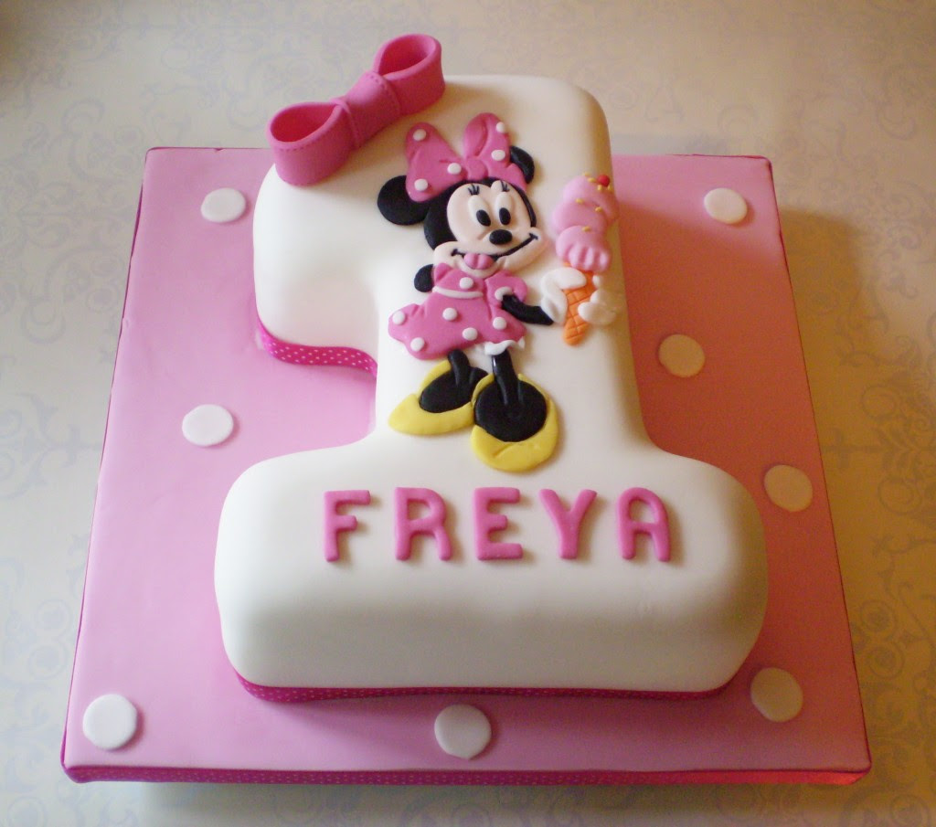 Stupendous Baby Minnie Mouse 1St Birthday Cake 1St Birthday Ideas Personalised Birthday Cards Veneteletsinfo