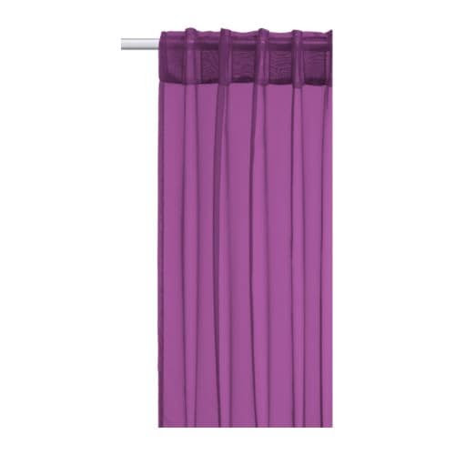 SARITA Pair of curtains IKEA Thin, sheer curtain; lets in daylight. Easily hemmed to desired length with the enclosed iron-on hemming strip.