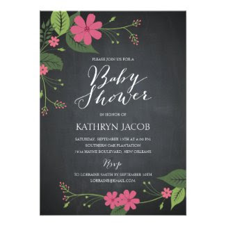 Chalked Floral Baby Shower Invitations