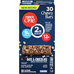 Fiber One Oats and Chocolate Chewy Bars 30 Count