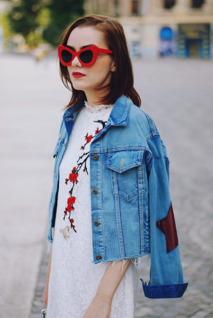 lace dress  denim jacket the last summer outfit