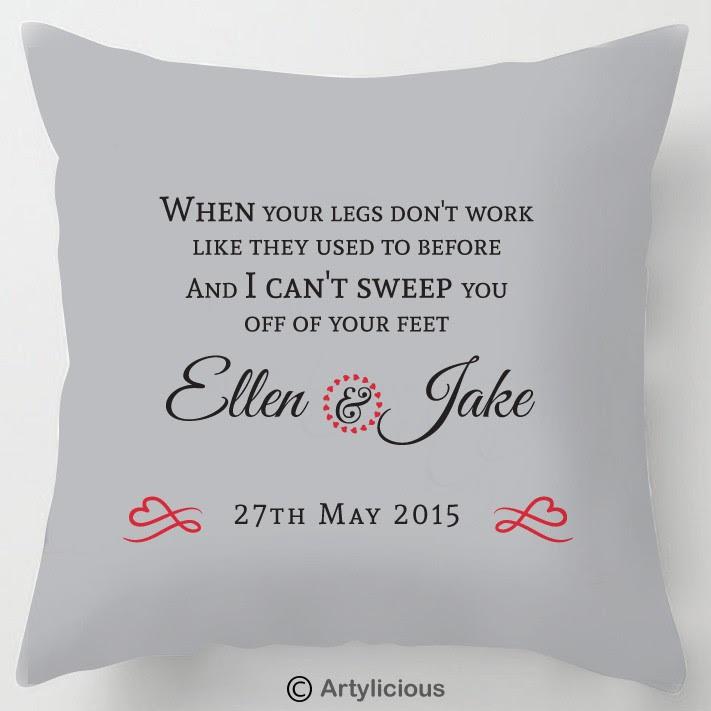 Personalised First Dance Lyrics Wedding Cushion