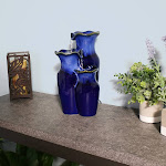 """Tiered Blue Ceramic Glazed Pitchers Indoor Tabletop Fountain - 11"""" by Sunnydaze Decor"""
