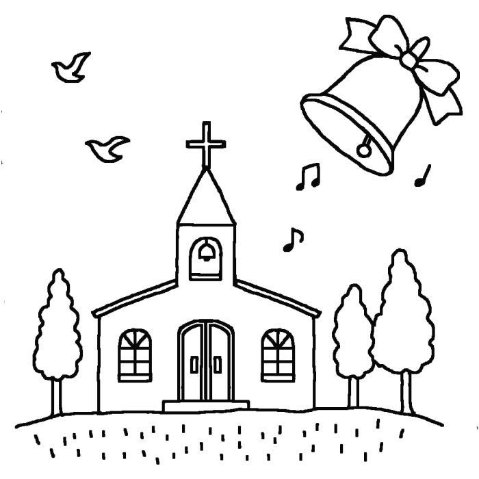 チャペルの鐘白黒ジューンブライドの無料イラスト夏の季節行事素材