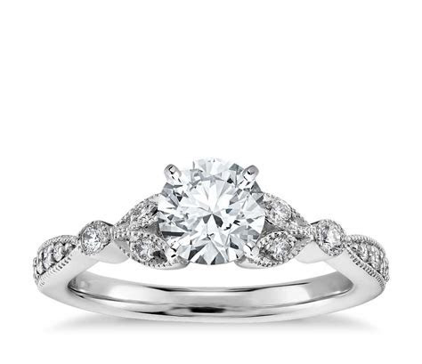 Petite Vintage Pavé Leaf Diamond Engagement Ring in 14k